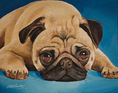 Pug Face Painting - Pug Portrait by Bill Dunkley