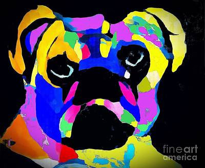 Painting - Pug Power Impression by Saundra Myles