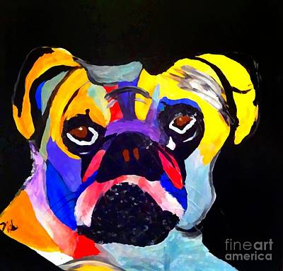 Painting - Pug Power Pup I by Saundra Myles