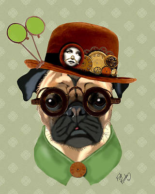 Pug Steampunk In A Bowler Hat Print by Kelly McLaughlan