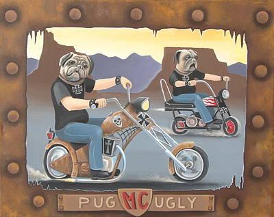 Bike Riding Painting - Pug Ugly M.c. by Stuart Swartz