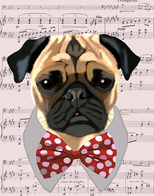 Pug With Bow Tie Art Print by Kelly McLaughlan