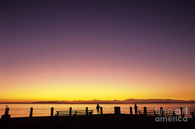 Photograph - Puget Sound And Olympic Mountains With Fishermen by Jim Corwin