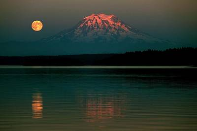 Photograph - Puget Sound Moonrise by Benjamin Yeager