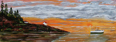 Jack Brauer Painting - Puget Sound Sunset by Jack G  Brauer