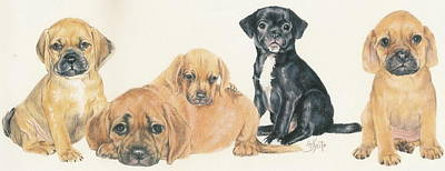 Puggle Puppies Art Print