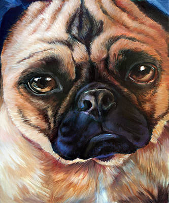 Soulful Eyes Painting - Pugly Study by Vanessa Bates