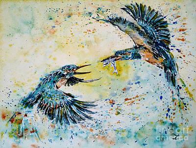 Painting - Pugnacious Kingfishers by Zaira Dzhaubaeva