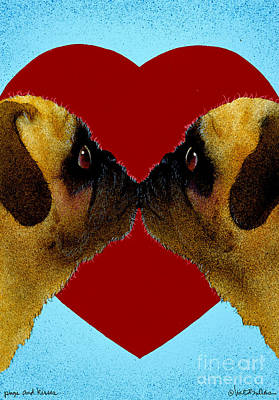 Pugs And Kisses... Art Print by Will Bullas
