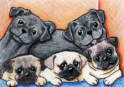 Childrens Drawing - Pugs Party Of Five by Kim Niles