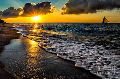 Sun Rays Photograph - Puka Beach Sunset by Adrian Evans