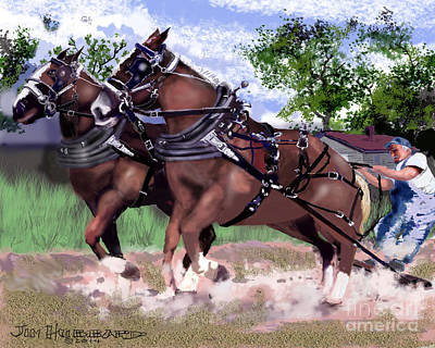 Drawing - Pulling Horses by Jim Hubbard