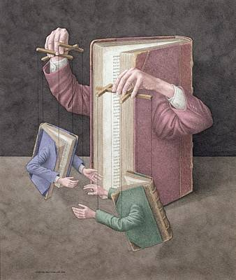 Marionettes Photograph - Pulling Strings, 2005 Wc On Paper by Jonathan Wolstenholme