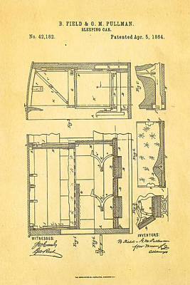 1864 Photograph - Pullman Sleeping Car Patent Art 1864 by Ian Monk