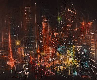 Semi-abstract Landscape Painting - Pulse Of The City by Tom Shropshire