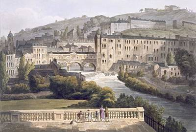 Bridge Drawing - Pulteney Bridge, From Bath Illustrated by John Claude Nattes