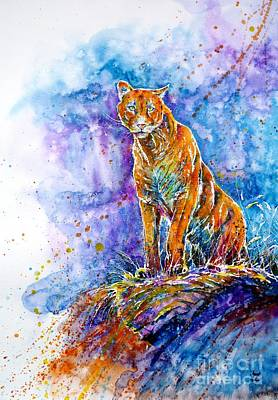 Painting - Puma. Listening To The Sounds Of The Mountains.  by Zaira Dzhaubaeva