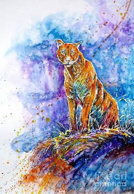 Puma. Listening To The Sounds Of The Mountains.  Art Print by Zaira Dzhaubaeva