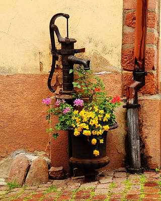 Kaysersberg Photograph - Pump And Flowers In Kaysersberg France by Greg Matchick