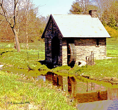 Pump House And Water Wheel In Autumn Digital Art Art Print by A Gurmankin