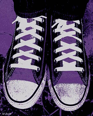 Foot Wear Digital Art - Pumped Up Purple by Ed Smith