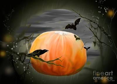 Photograph - Pumpkin And Moon Halloween Art by Annie Zeno