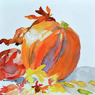 Art Print featuring the painting Pumpkin And Pomegranate by Beverley Harper Tinsley