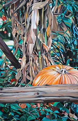 Hyperrealism Painting - Pumpkin by Anthony Mezza