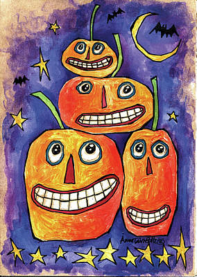 Witches Broom Painting - Pumpkin Family by Anne Tavoletti