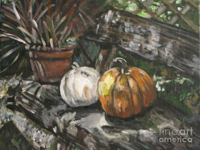 Painting - Pumpkin Friends on Bench by Whitney Wiedner