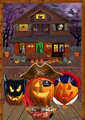 Grim Digital Art - Pumpkin Masquerade by Glenn Holbrook