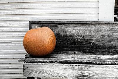 Photograph - Pumpkin On A Bench by Audreen Gieger