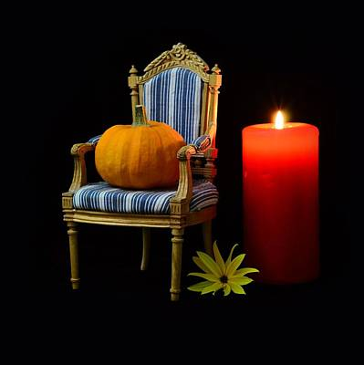 Autumn Photograph - Pumpkin On A Chair With Candle by Gynt