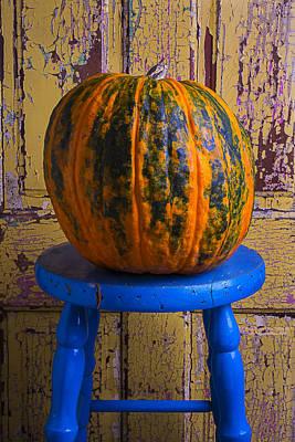 Chip Photograph - Pumpkin On Blue Stool by Garry Gay