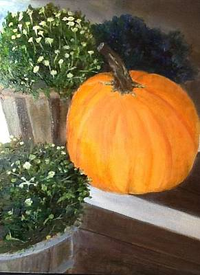 Painting - Pumpkin On Doorstep by Cindy Plutnicki