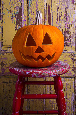 Chip Photograph - Pumpkin On Red Stool by Garry Gay