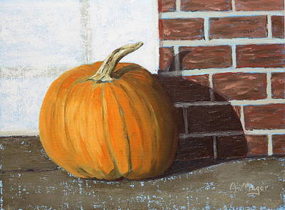Painting - Pumpkin On The Corner by Alan Mager