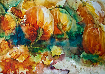 Maple Leaf Art Painting - Pumpkin Patch by Jani Freimann