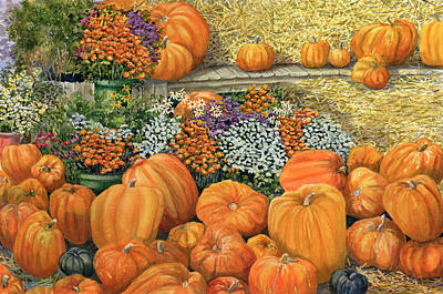 Jack O Lantern Painting - Pumpkin Patch by Karen Wright
