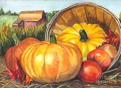 Farm Scene Drawing - Pumpkin Pickin by Carol Wisniewski
