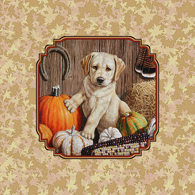 Yellow Labrador Retriever Painting - Pumpkin Puppy Leafy Background by Crista Forest