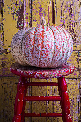 Chip Photograph - Pumpkin Sitting On Red Stool by Garry Gay