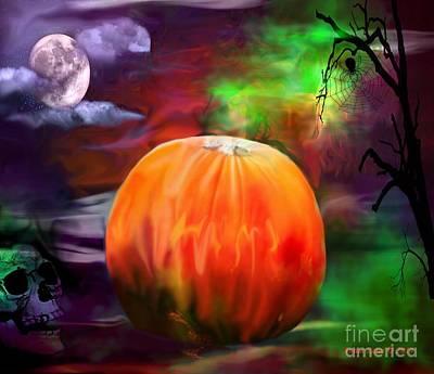 Photograph - Pumpkin Skull Spider And Moon Halloween Art by Annie Zeno