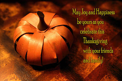Pumpkin Thanksgiving Card Art Print by Linda Phelps