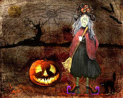 Pumpkin Mixed Media - Pumpkinella The Magical Good Witch And Her Magical Cat by Colleen Taylor