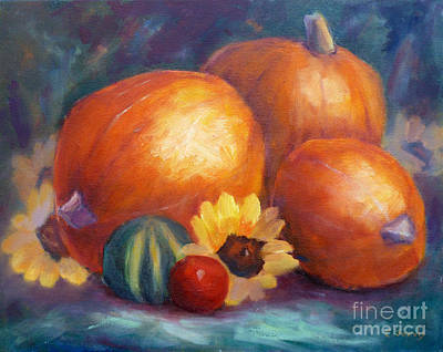 Painting - Pumpkins And Flowers by Carolyn Jarvis