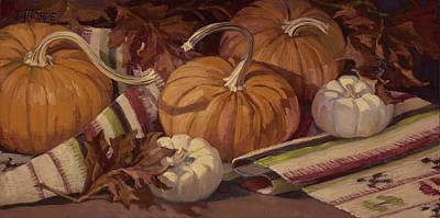 Pumpkins And Leaves Original by Jane Thorpe