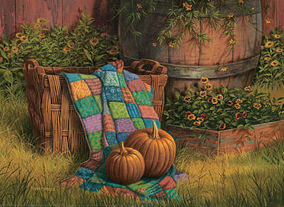 Quilt Painting - Pumpkins And Patches by Michael Humphries