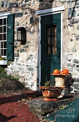 Old School House Photograph - Pumpkins By The Door by John Rizzuto