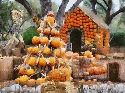 Digital Art - Pumpkins House by Carrie OBrien Sibley